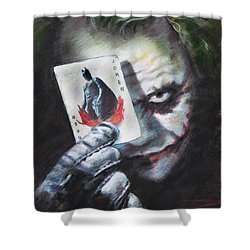 Shower Curtain featuring the drawing The Joker Heath Ledger  by Viola El