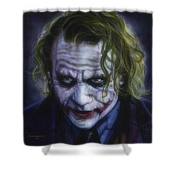 The Joker Shower Curtain by Timothy Scoggins