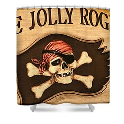 The Jolly Roger Shower Curtain by Kathy Clark