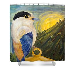 Shower Curtain featuring the painting The Key by Maria Langgle