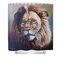 Shower Curtain featuring the painting The King by Anthony Mwangi