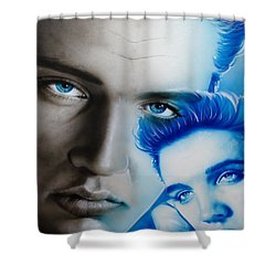 Elvis Presley - ' The King ' Shower Curtain by Christian Chapman Art
