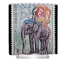 Shower Curtain featuring the photograph The King's Elephant Vintage Postage Stamp Print by Andy Prendy