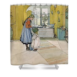 The Kitchen From A Home Series Shower Curtain by Carl Larsson