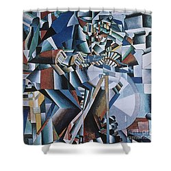 The Knife Grinder Shower Curtain by Kazimir  Malevich