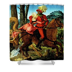 The Knight Young Girl And Death Shower Curtain by Hans Baldung