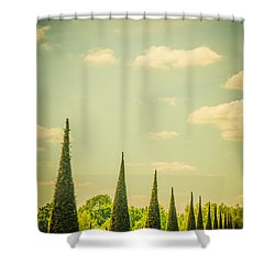 The Knot Garden's Triangular Landscaping Shower Curtain