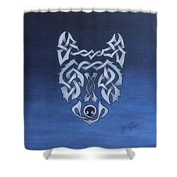 The Knotty Wolf Shower Curtain by Sandy Jasper
