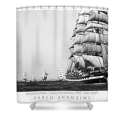 The Kruzenshtern Departing The Port Of Cadiz Shower Curtain