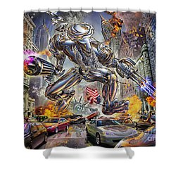 The Ladenator Shower Curtain by Adrian Chesterman
