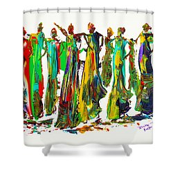 Shower Curtain featuring the painting The Ladies by Bernadette Krupa