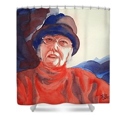 The Lady In Red Shower Curtain by Kathy Braud