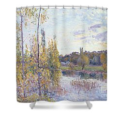 The Lake At Chevreuil Shower Curtain by Alfred Sisley
