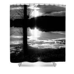 The Lake - Black And White Shower Curtain