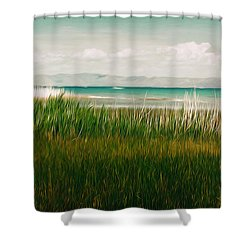 The Lake - Digital Oil Shower Curtain by Mary Machare