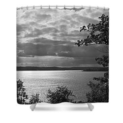 The Lake In Black And White Shower Curtain