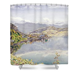 The Lake Of Lucerne, Mount Pilatus Shower Curtain by John William Inchbold