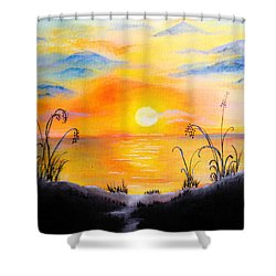 The Land Of The Dying Sun Shower Curtain by Nirdesha Munasinghe