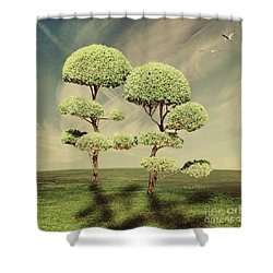 The Land Of The Lollipop Trees Shower Curtain by Linda Lees