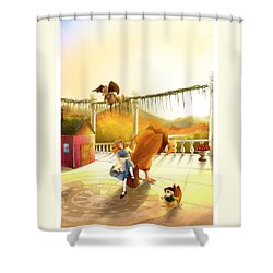 The Landing On The Balcony  Shower Curtain