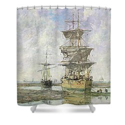 The Large Ship Shower Curtain by Eugene Louis Boudin
