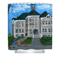 Shower Curtain featuring the painting The Last Bell At West Hill School by Betty Pieper