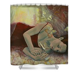The Last Dream Before Dawn Shower Curtain by Dorina  Costras