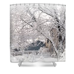 Shower Curtain featuring the photograph The Last Snow Storm by Kay Novy