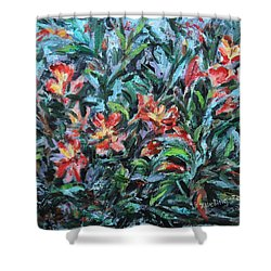Shower Curtain featuring the painting The Late Bloomers by Xueling Zou