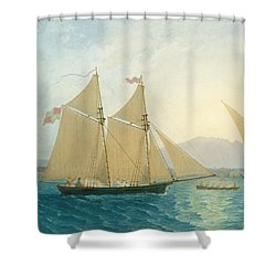 The Launch La Sociere On The Lake Of Geneva Shower Curtain by Francis  Danby