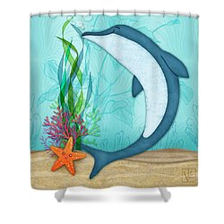 The Letter D For Dolphin Shower Curtain