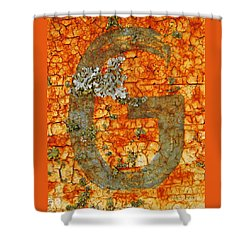 The Letter G With Lichens Shower Curtain by Chris Berry