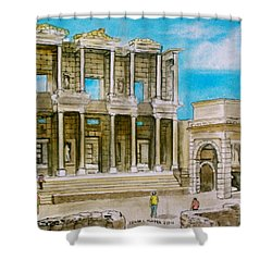 The Library At Ephesus Turkey Shower Curtain by Frank Hunter