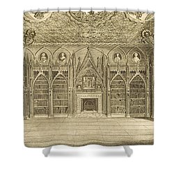 The Library, Engraved By Godfrey Shower Curtain by English School