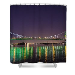 The Lighted Ben Franklin Bridge Shower Curtain by Bill Cannon