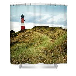 the lighthouse of Hoernum Shower Curtain by Hannes Cmarits