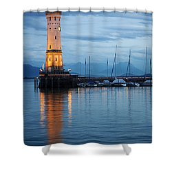 The Lighthouse Of Lindau By Night Shower Curtain by Nick  Biemans