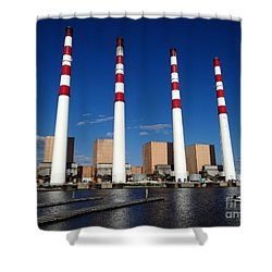 Shower Curtain featuring the photograph The Lilco Towers by Ed Weidman