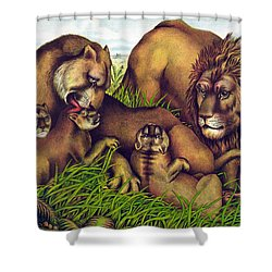 The Lion Family Shower Curtain by Georgia Fowler