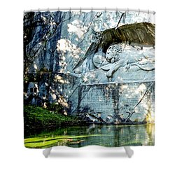 The Lion Monument In Lucerne Switzerland Shower Curtain