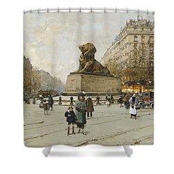 The Lion Of Belfort Le Lion De Belfort Shower Curtain by Eugene Galien-Laloue