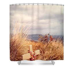 The Little Cross Shower Curtain by Carla Carson