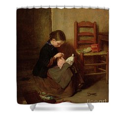 The Little Dressmaker Shower Curtain by Pierre Edouard Frere