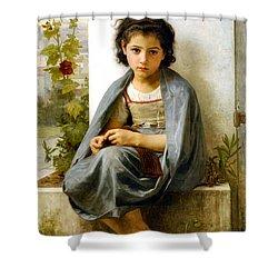 The Little Knitter Shower Curtain by William Bouguereau