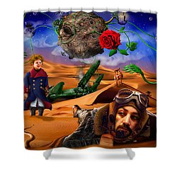 The Little Prince - Le Petit Prince Shower Curtain by Alessandro Della Pietra
