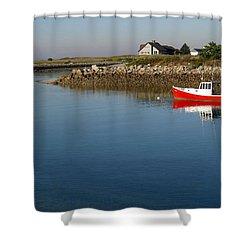 The Little Red Boat Shower Curtain
