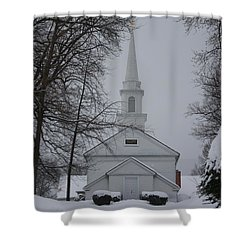 Shower Curtain featuring the photograph The Little White Church by Dora Sofia Caputo Photographic Art and Design