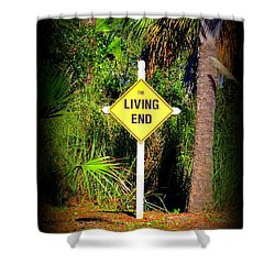 The Living End Shower Curtain by Carla Parris