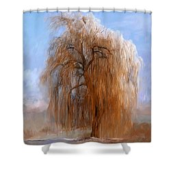The Lone Willow Tree Shower Curtain
