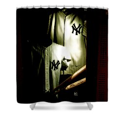 The Locker  Mickey Mantle's And Joe Dimaggio's Locker Shower Curtain by Iconic Images Art Gallery David Pucciarelli